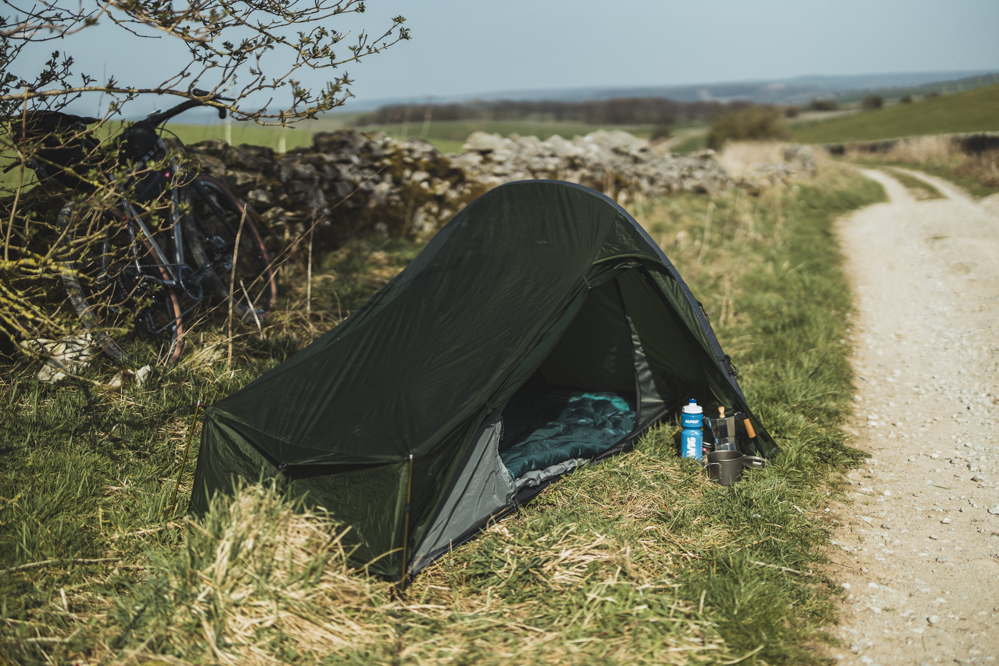 Tent by a road