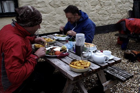 Lunch before the climb up Tarren Hendre