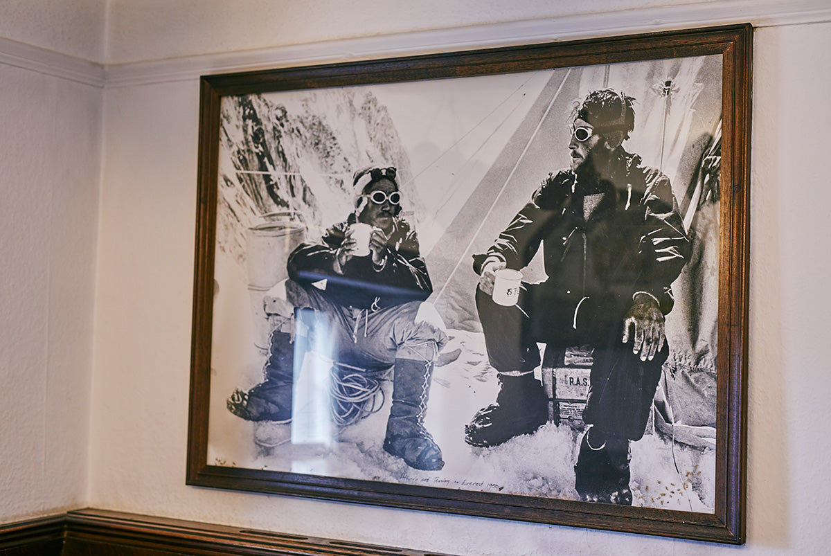 Old walking boots hanging in the Pen y Gwryd Hotel