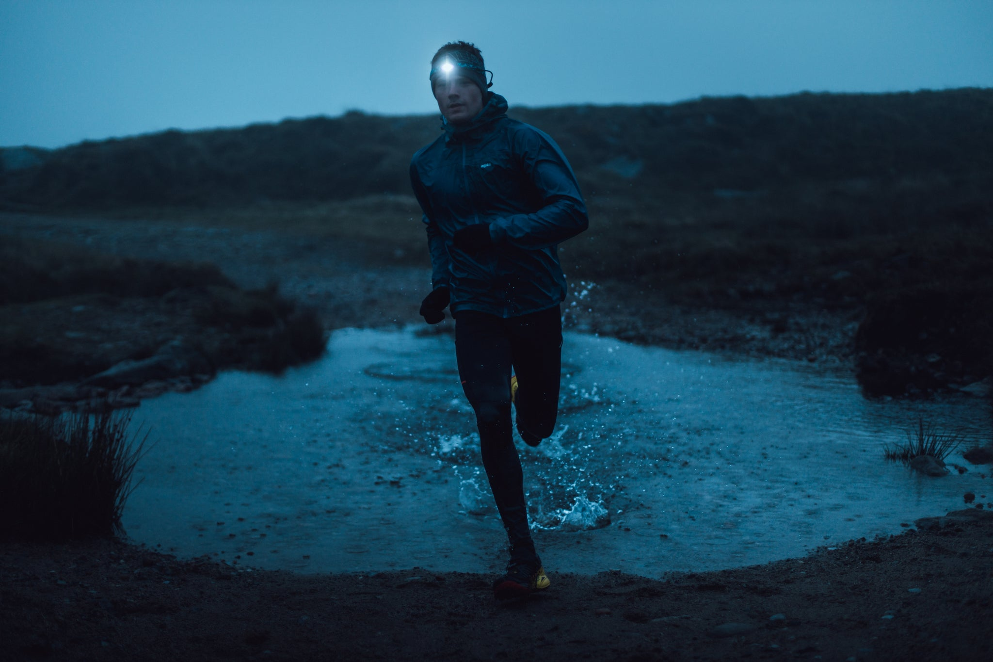 Trail running with a Gamma running head torch