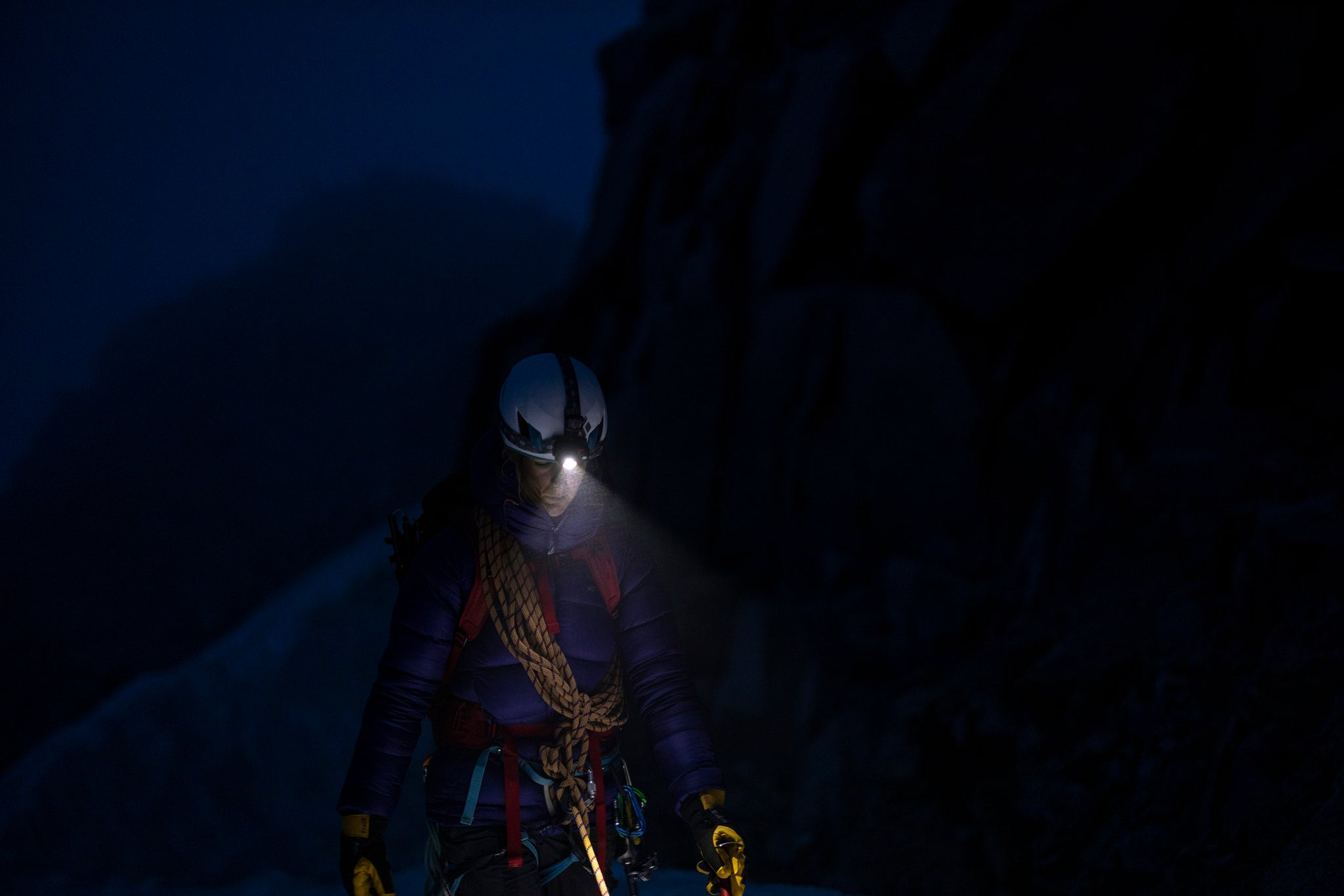 Mountaineering at night in the French Alps with the Qark rechargeable head torch on