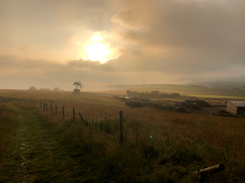 Sunrise on day 2 of the Pennine Bridleway by bike