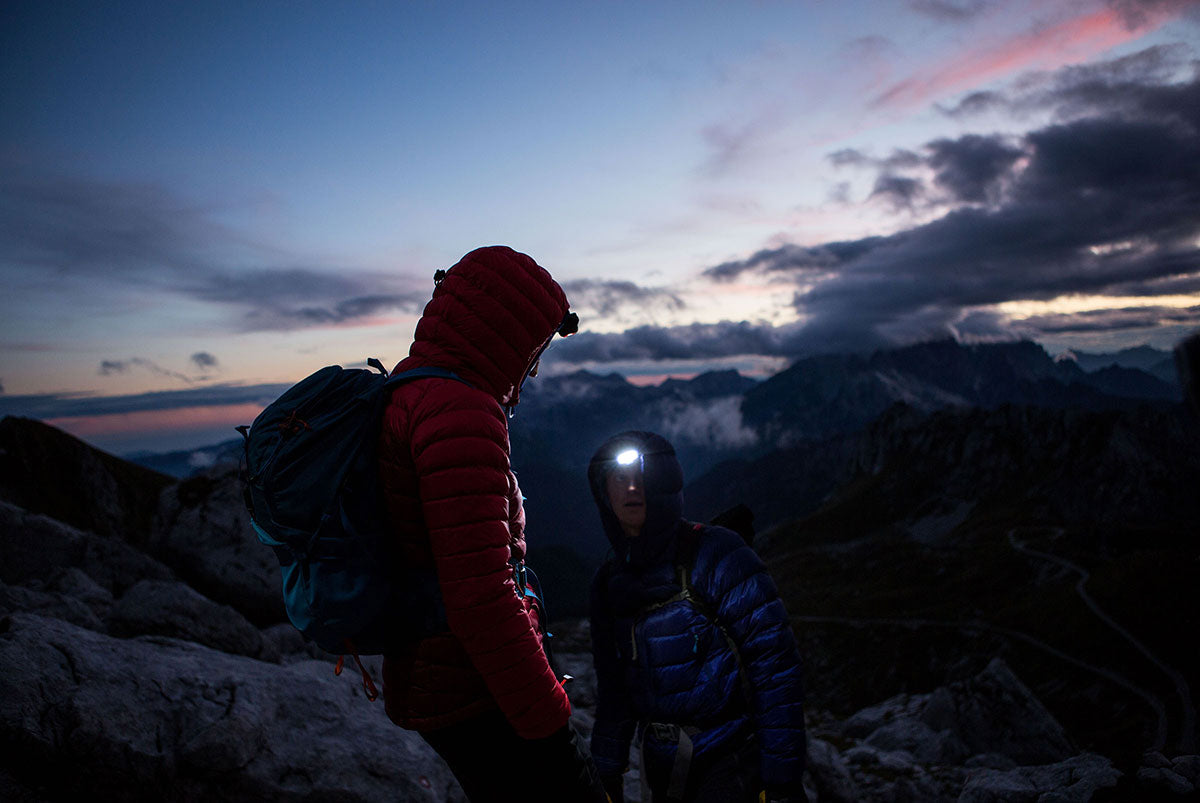 Night time scrambling with head torches in Slovenia