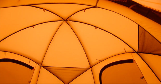 The inside of a heksa tent