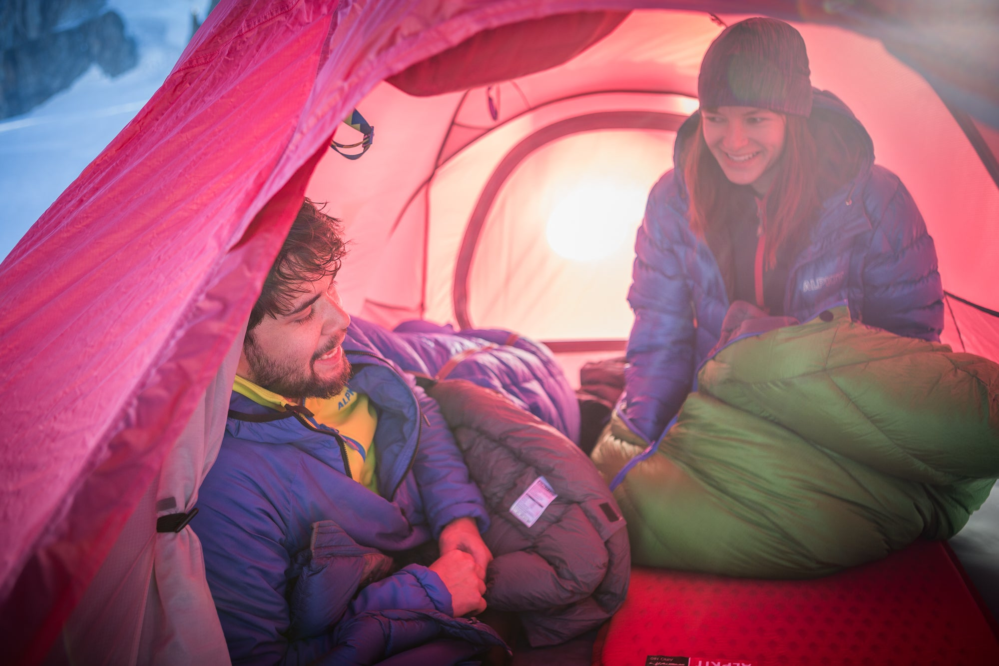 Lying inside the tent in the French Alps on Alpkit sleeping mats