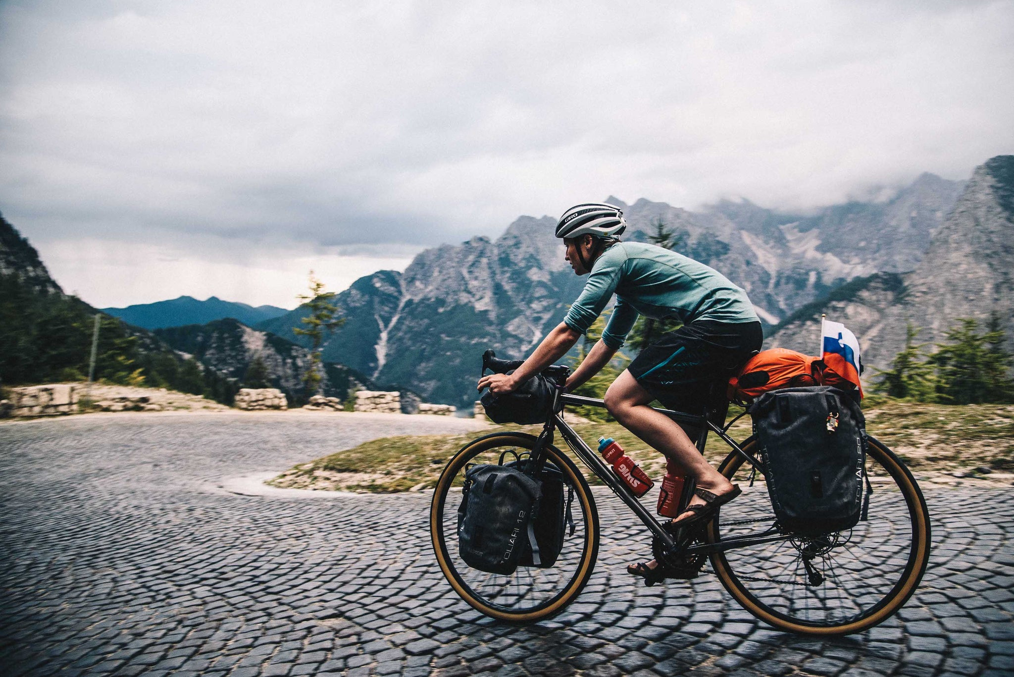 Cycle touring in Slovenia in a Merino wool cycling jersey