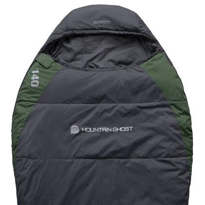 Mountain Ghost 140 synthetic 1 season sleeping bag in green and grey