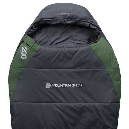 Mountain Ghost 200 synthetic 2 season sleeping bag in green and grey
