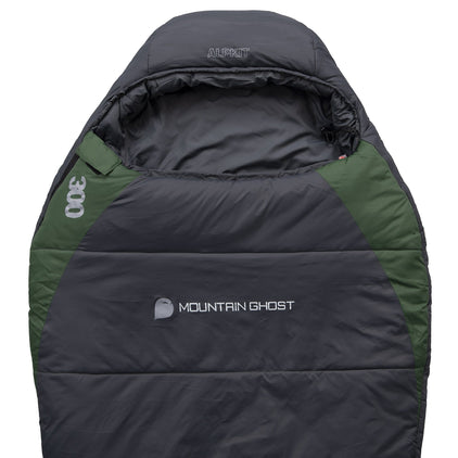 Mountain Ghost 300 synthetic 3 season sleeping bag in green and grey