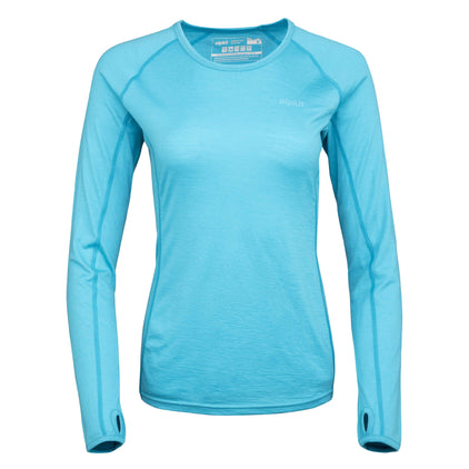 womens Kepler long sleeve merino baselayer in surf
