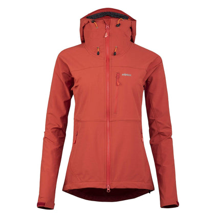 womens resolute softshell jacket in brick