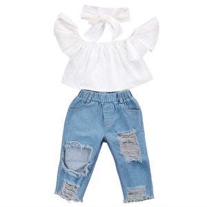 2019 Fashion Toddler Girls Kids Off Shoulder Tube Tops + Denim Pants+ Handband 3pcs Outfits Set Clothes