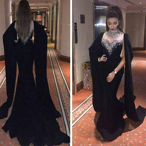 Kaftan Dubai Black Evening Dress Crystal High Neck Elegant Mermaid Long Prom Party Dresses 2019 Abaya Muslim Evening Gowns Women