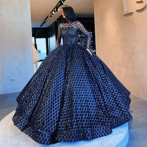 New Arrival Long Arabic Women Evening Dress 2019 O-neck Long Sleeve Ball Gown Sequin Black Dubai Formal Evening Gowns