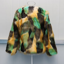 Load image into Gallery viewer, Mixed Color Womens Short Section Casual Winter And Autumn Jackets Plus Size Leisure Sexy Fake Fur Coats Faux Fur Clothes J2519