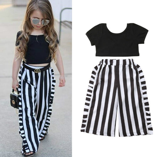 1-6Y Summer Kid Baby Girl Clothes 2PCS Short Sleeve Black Crop Tops+Striped Wide Leg Pant Toddler Children Baby Girl Clothing