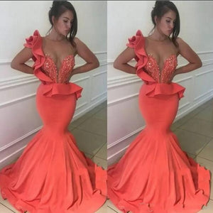 Sexy Mermaid Prom Dresses Plus Size Ruffles Peplum Beading Evening Gowns For Women Satin Party Dress robe de soiree 2019