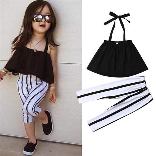 1-6Y Cute Girls Summer Clothing Kid Strap Tops+Striped Pants Leggings 2pcs Outfits Kids Fashion Clothes toddler girl clothes