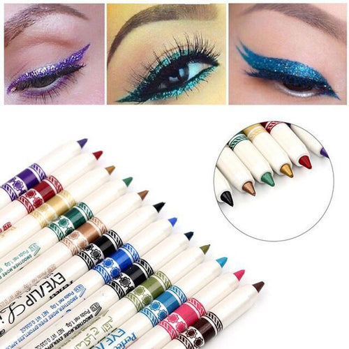 12pcs/pack eyeliner pencil set for beauty make up Long-lasting eye liner Pen Eyes Makeup Kit Cosmetic Gold Shimmer 12 colors