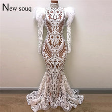 Load image into Gallery viewer, White Mermaid Evening Dresses Robe De Soiree 2019 Illusion Arabic Party Gowns Feather Beaded Dubai Abaya Kaftan Long Prom Dress