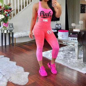 2 Piece Outfit Women PINK Letter Print Tanks Top And Fit  Length Pants Plus Size XXXL