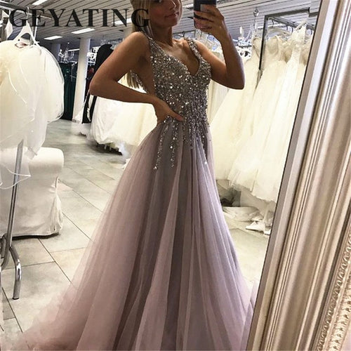 Sexy Deep V-Neck Backless Crystals Beaded Evening Dress 2019 Elegant High Split Tulle Grey Prom Dresses Women Formal Party Gowns