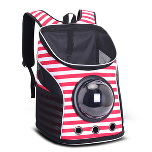 """The Adventuresome Cat"" Cat Backpack with Mesh Top & Glass Bubble"