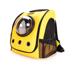 """The City Chic"" Leather Cat Backpack with Glass Bubble"