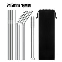 UPORS 4Pcs/Set Stainless Steel Straw with Cleaner Brush Reusable Metal Drinking Straws Food Grade 6*215MM Straw for 20/30oz Mugs