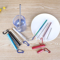Stainless Steel Folding Straw Telescopic Drinking Straw Pen Shaped Case Carabiner Reusable Metal Straw Travel Picnic Drinkware