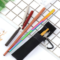 Reusable Metal Foldable Straw 304 Stainless Steel Telescopic Straws With Cloth Storage Bag and Cleaning Brush Folding Straw Set