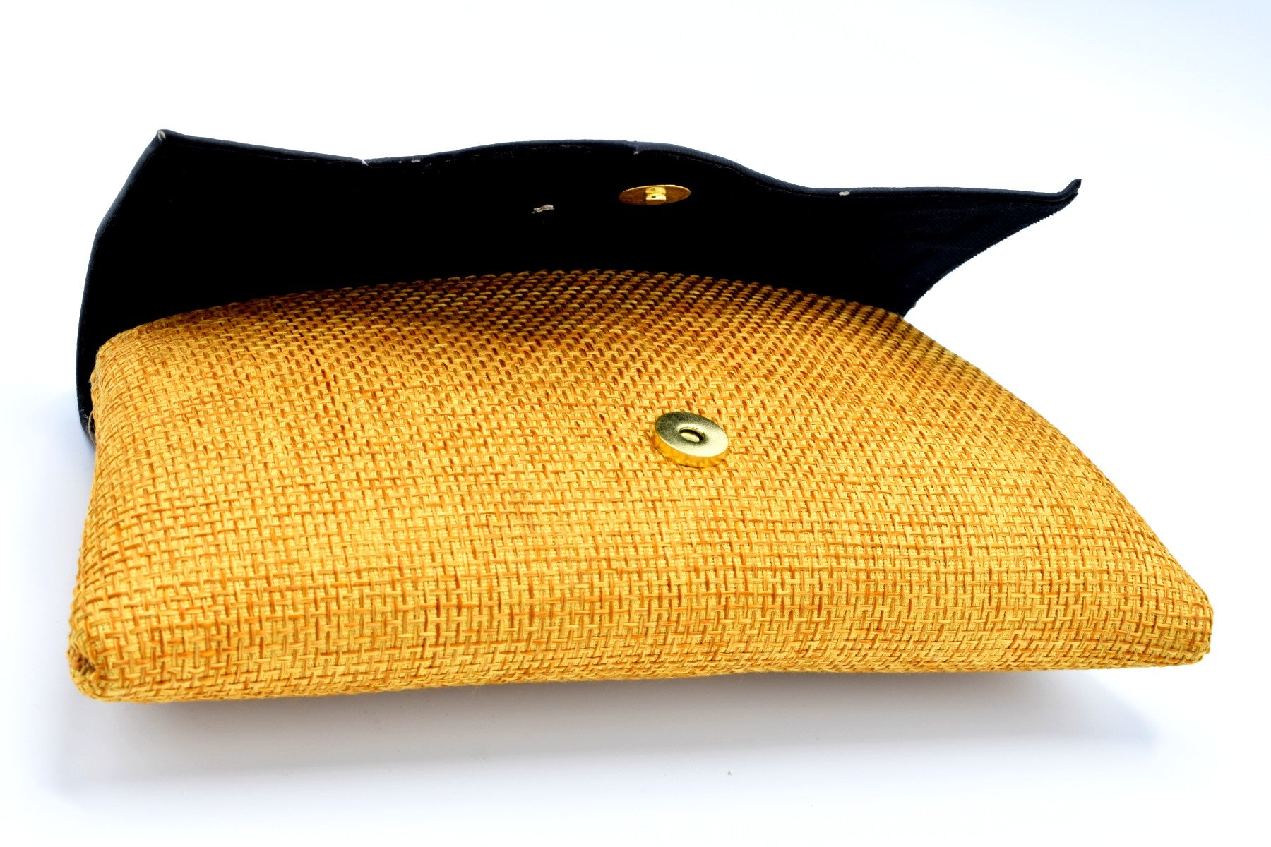 Black Leather on Gold Jute Medium-sized handmade Clutch Purse w/ Cleft - Kulcha Kernel