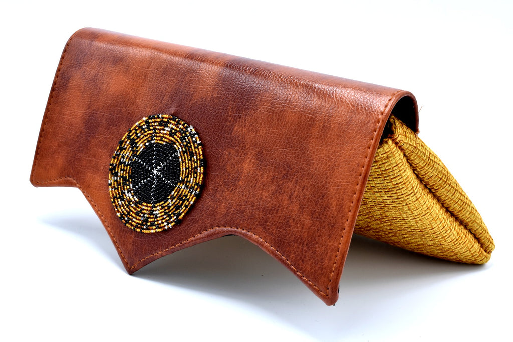 Mocha on Gold Medium-sized handmade Clutch Purse w/ Cleft - Kulcha Kernel