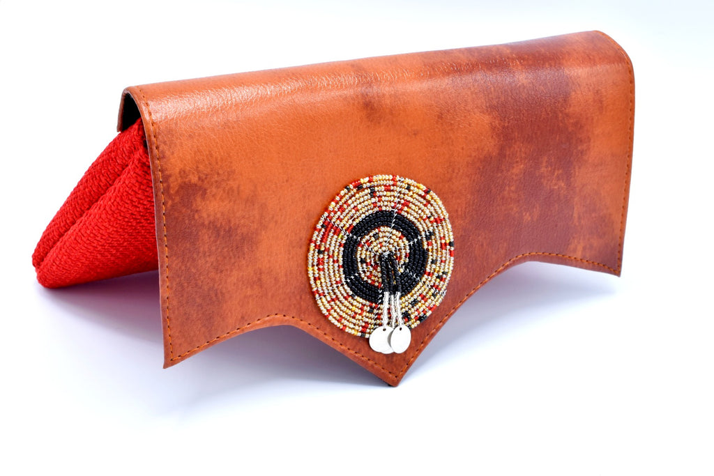 Mocha on Crimson Red Medium-sized handmade Clutch Purse w/ Cleft - Kulcha Kernel