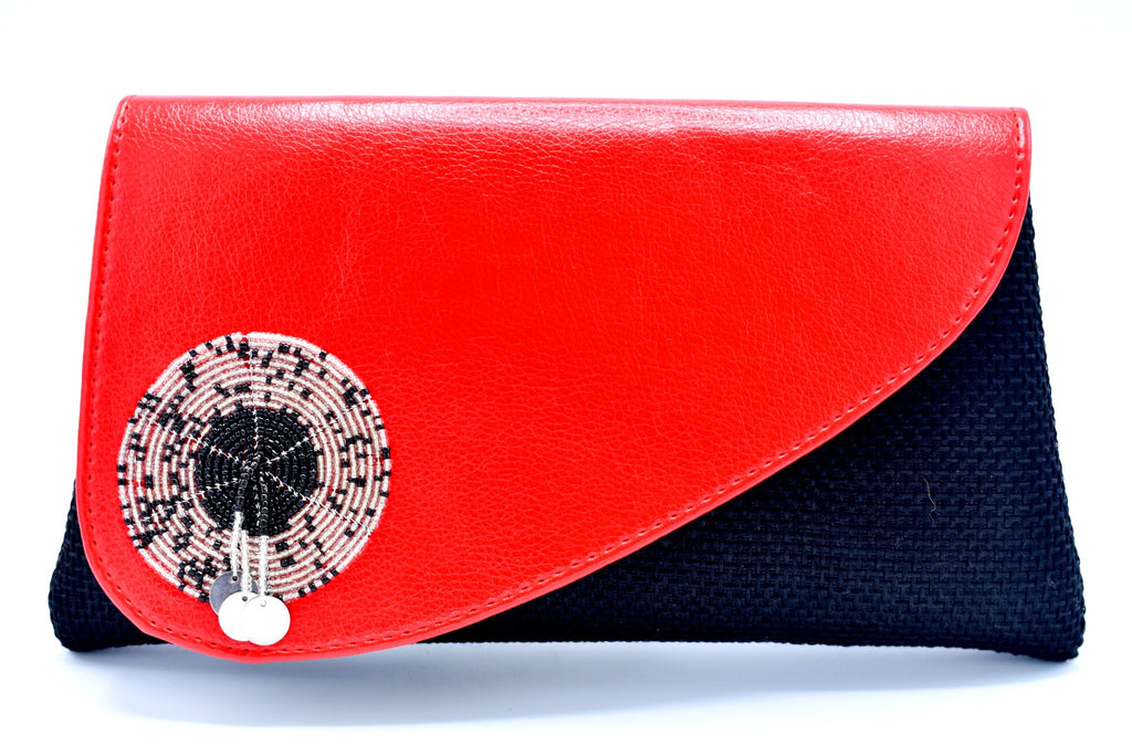 Red on black medium-sized handmade Clutch Purse - Kulcha Kernel