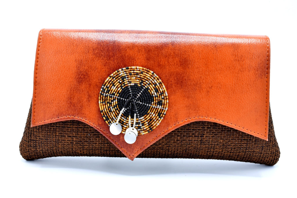 Medium Sized Leather Mocha on Brown Cleft Flap Handmade Clutch Purse - Kulcha Kernel