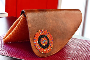 Orange medium-sized handmade Clutch Purse - Kulcha Kernel