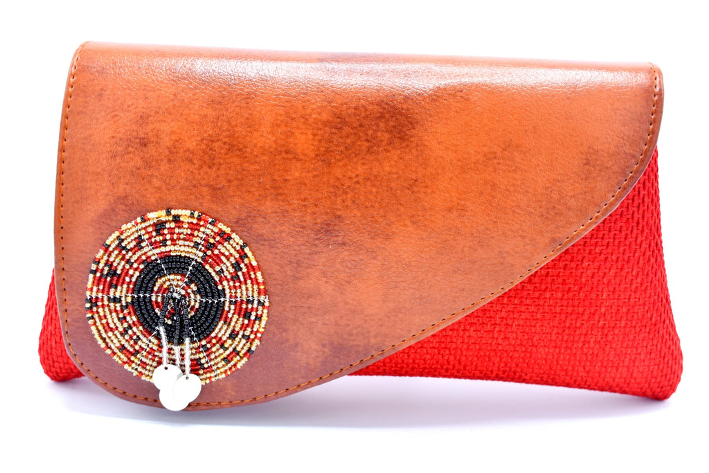 Mocha and red medium-sized handmade Clutch Purse - Kulcha Kernel