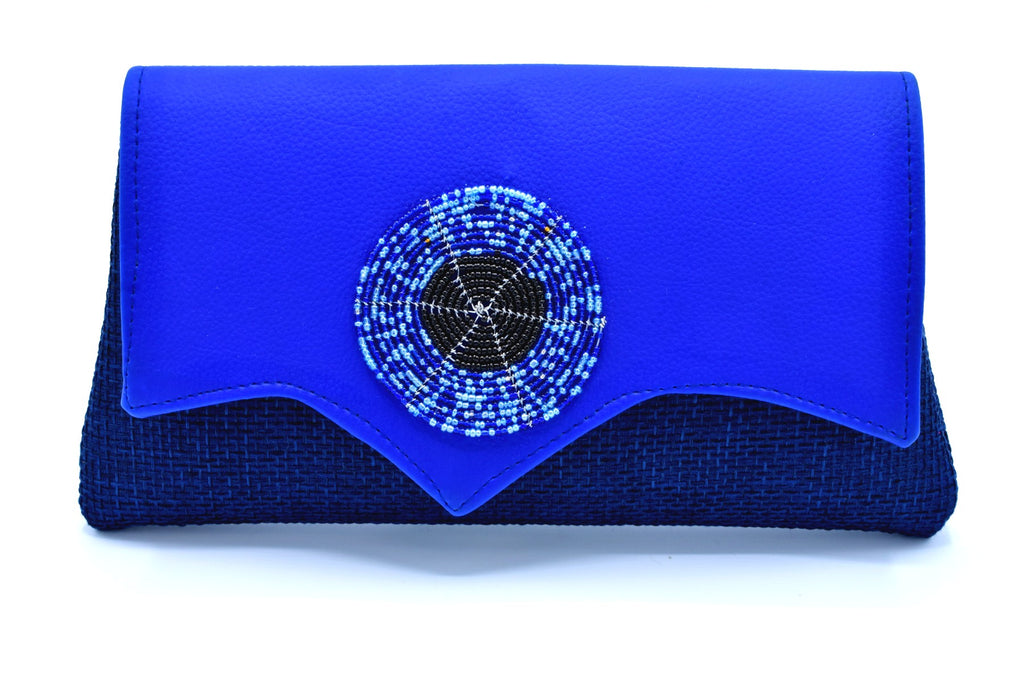 Royal blue medium sized handmade Clutch Purse ( Cleft Flap ) - Kulcha Kernel