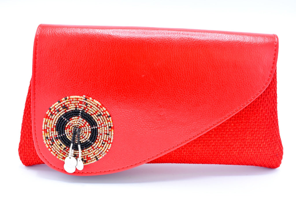 Crimson red medium-sized handmade Clutch Purse - Kulcha Kernel