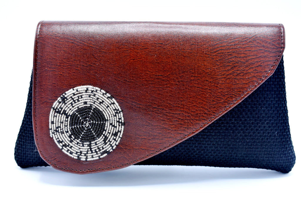 Mocha on black medium-sized handmade Clutch Purse - Kulcha Kernel