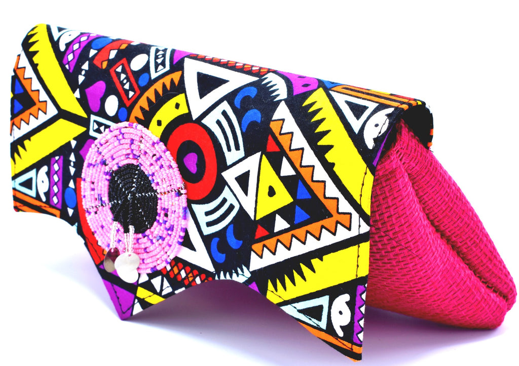 Medium Afro-Cosmic Pink Clutch Purse - Kulcha Kernel