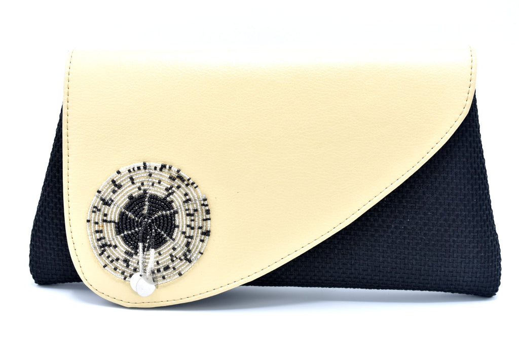 Pearl White on black medium-sized handmade Clutch Purse - Kulcha Kernel