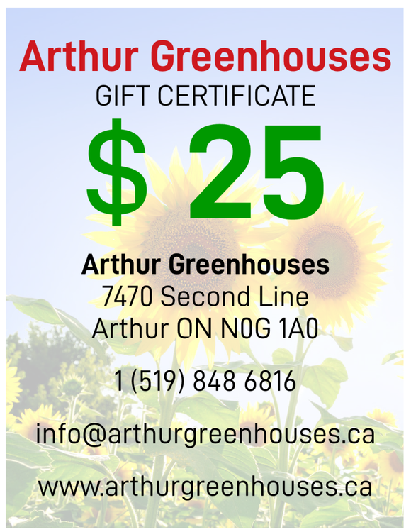Arthur Greenhouse - $25 Gift Certificate