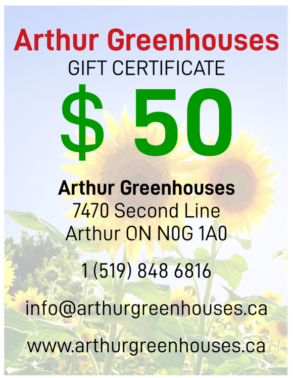 Arthur Greenhouse - $50 Gift Certificate