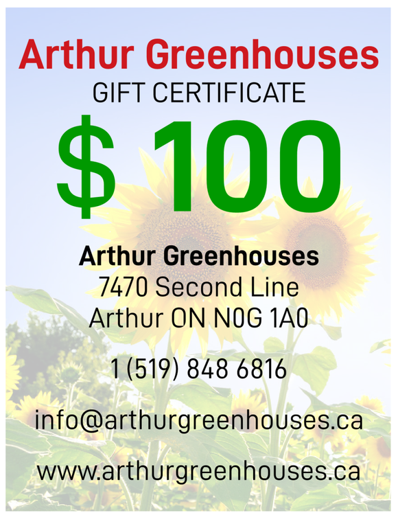 Arthur Greenhouses - $100 Gift Certificate