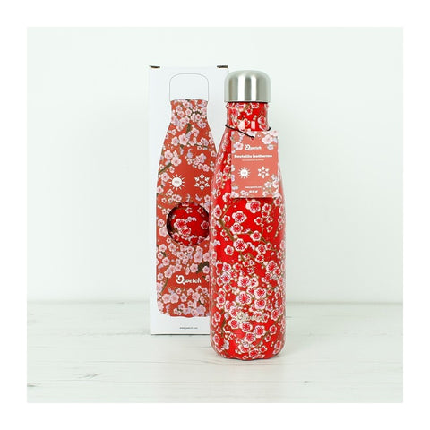 Qwetch Insulated Stainless Steel Bottle - Flowers Red - 500ml