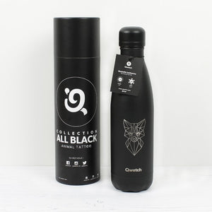 Qwetch Flaska úr einangruðu, riðfríu stáli, special edition  - All Black Fox - 500 ml 🦊