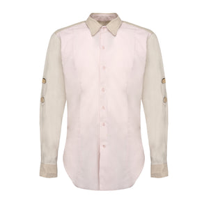 Pink Beige Button Shirt