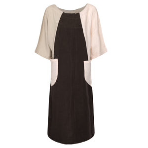 Black Beige Pocket Dress